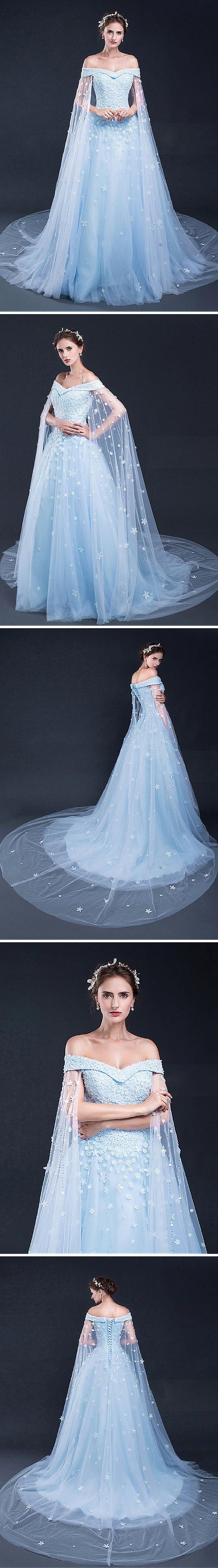 Frozen Wedding Theme Dress Fantastical Weddings Dresses fantasticalweddings.com Marvelous Tulle Off-the-shoulder Neckline A-line Prom Dresses With Beaded Lace Appliqués | dressilyme.com