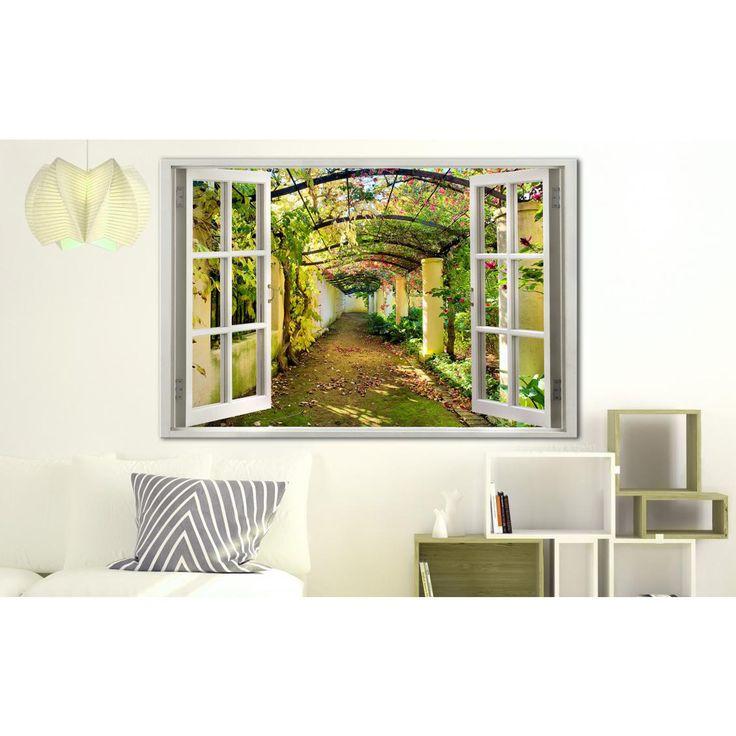 Obraz z widokiem na pergolę rozpromieni każdą jadalnie czy salon #obraz #pejzaż #krajobraz #pergola #okno #artgeist