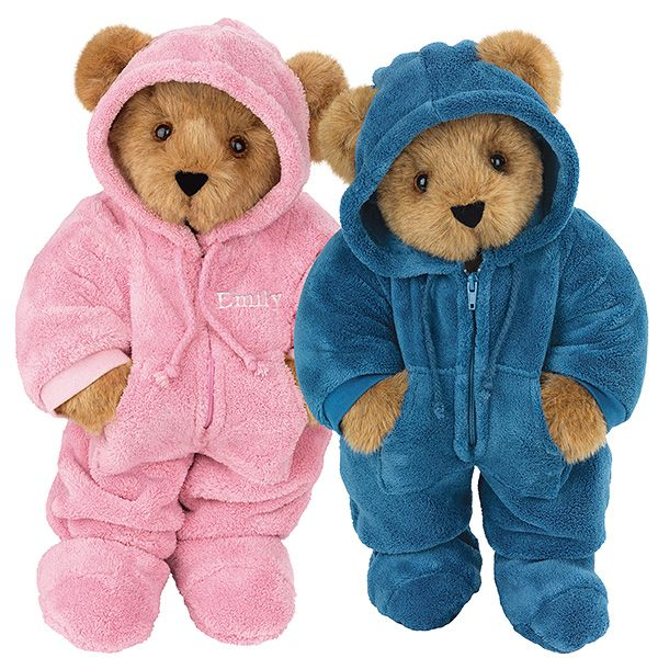 "15"" Pink & Blue Hoodie-Footie Bears from Vermont Teddy Bear. $119.99 #ValentinesDay #Gift #TeddyBear"