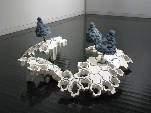 Tyler Dylan Lotz    A Cold Ideal, 2011. Ceramic, foam, acrylic, epoxy, steel, hardware.