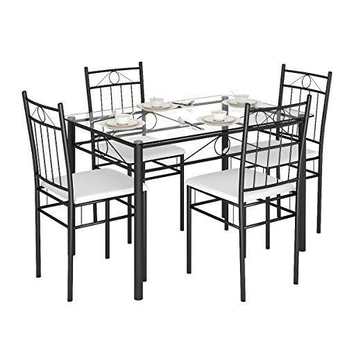 Tangkula 5 Piece Dining Table Set Glass Top Metal Dining Set Kitchen Breakfast Furn Glass Dining Table Set Metal Dining Set Dining Sets Modern