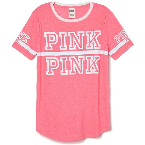 Victoria's Secret Perfect Legging Tee,grey ($25) found on Polyvore featuring women's fashion, tops, t-shirts, shirts, pink, pattern t shirt, grey t shirt, stripe t shirt, gray t shirt and t shirts