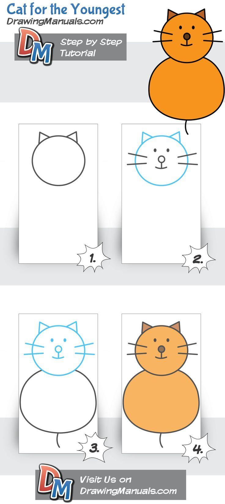 Cat For Kids Step By Step Drawing Tutorial Kinder Zeichnen Zeichnung Tutorial Schritt Fur Schritt Zeichnung