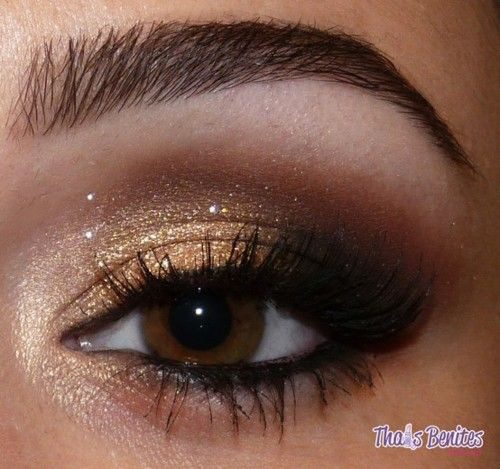 smokey: Brown Eyes, Gold Eyeshadow, Make Up, Eye Makeup, Eye Shadows, Beautiful, Eyemakeup, Eyeshadows, Smokey Eye