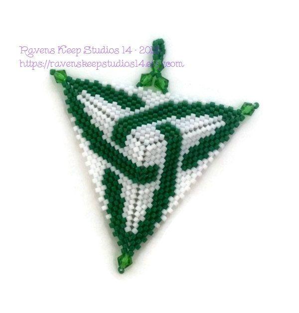 Celtic Knot Pendant, Saint Patrick's Day Jewelry, Green Celtic Knot Pendant, Ladies Celtic Jewelry, Peyote Triangle Celtic Pendant by RavensKeepStudios14 on Etsy