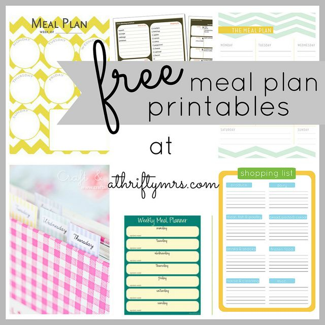 The BEST free meal planning printables    http://www.athriftymrs.com/2013/06/free-meal-plan-printables.html