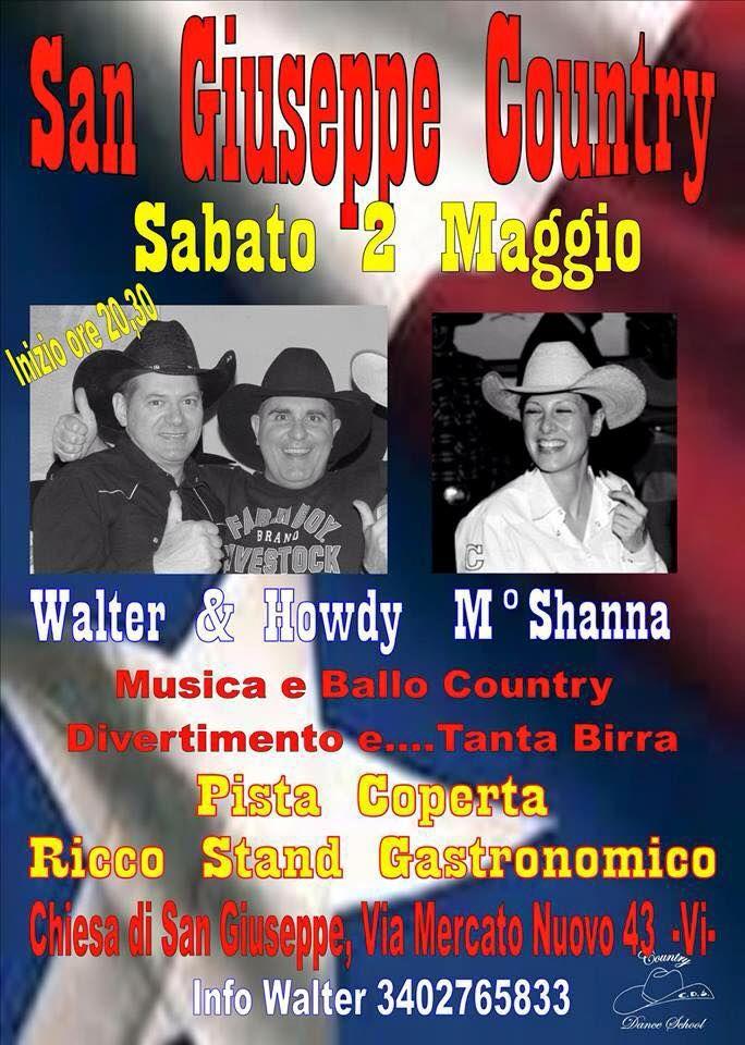 Vieni alla serata Country Music, sabato 2 Maggio. #festaSanGiuseppe di Vicenza, zona Mercato Nuovo.