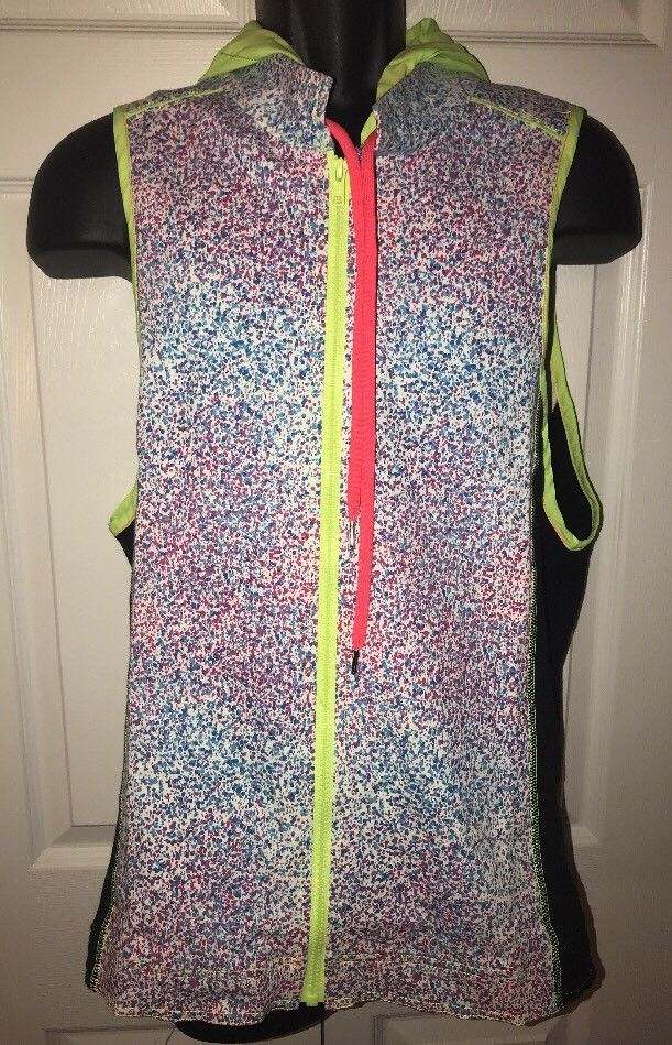 Andrew Christian Paint Splatter Blend Zip Up Hooded Vest Large Neon Green Pink  | eBay