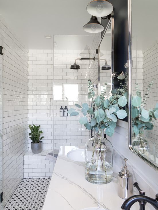 Hgtv Bathroom Renovation The Black Sconces Add A Great Farmhouse Touch To This Renovated Ad