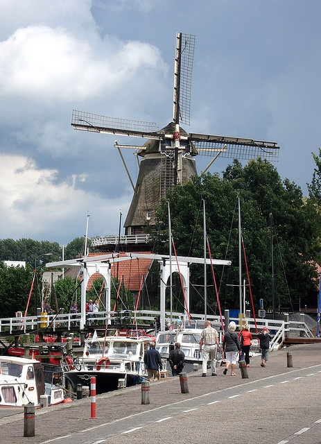 Windmill and boats in Harderwijk, the Netherlands