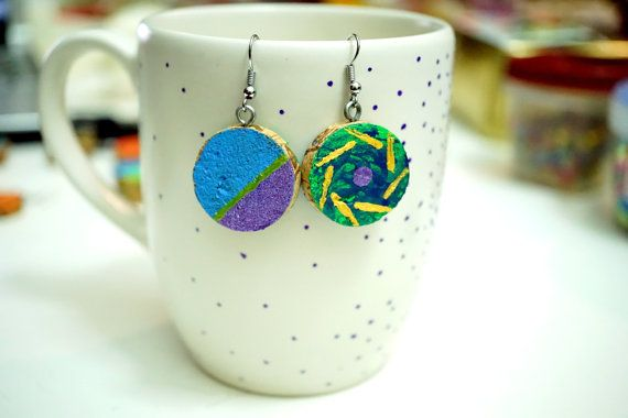Recycled Wine Cork Earrings - Two Sided - Purple and Blue with Gold Line and Stripes on Green