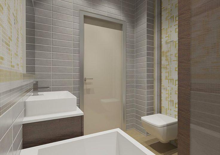 Дизайн санузла, дизайн ванной комнаты, современный стиль. Отделка прямоугольной серой плиткой и мозаикой. Серый современный интерьер санузла.