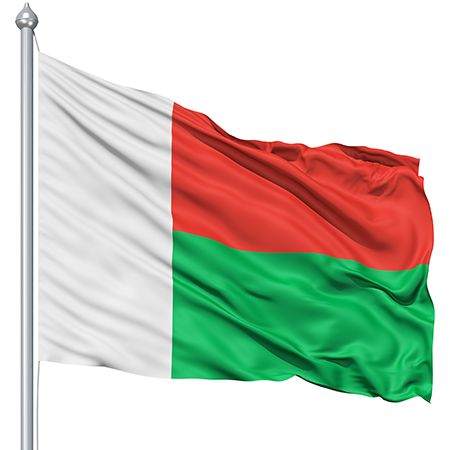 Madagascar flag and Color meaning: red stands for sovereignty, green for hope, white for purity.