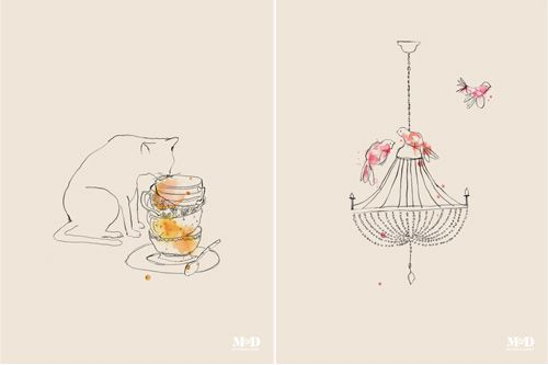 Teacups and Chandelier prints- Mitchel and Dent
