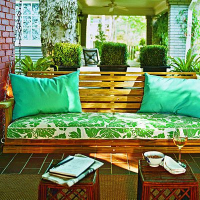 Bright Green Porch Swing - Peaceful Porch Swings - Southern Living