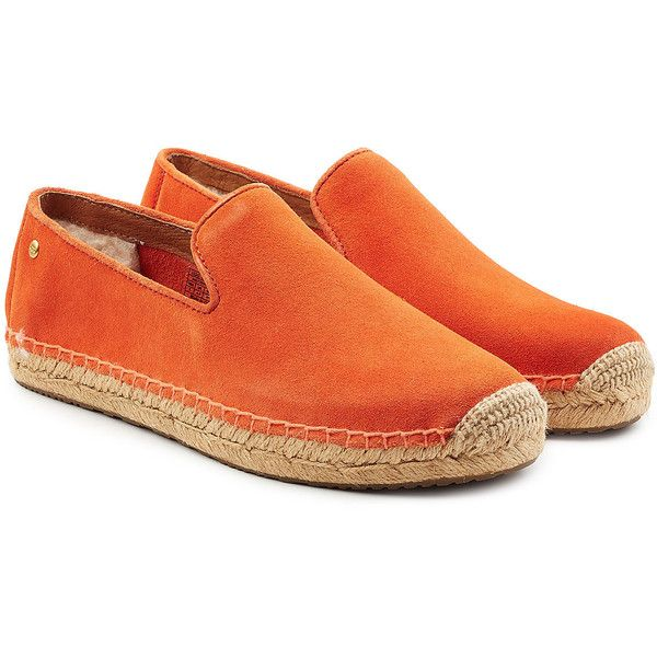 UGG Australia Suede Espadrilles ($78) ❤ liked on Polyvore featuring shoes, sandals, orange, espadrille sandals, ugg espadrilles, orange shoes, ugg shoes and ugg sandals