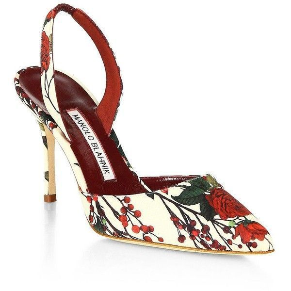 91c7f41d528b Manolo Blahnik Carolyn Floral Slingbacks (€555) ❤ liked on Polyvore  featuring shoes