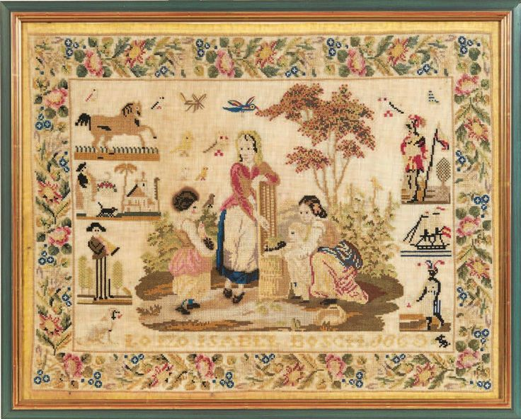 A 19th Century Sampler Dated 1863 ~ From The Collection Of The Late Regine Deforges