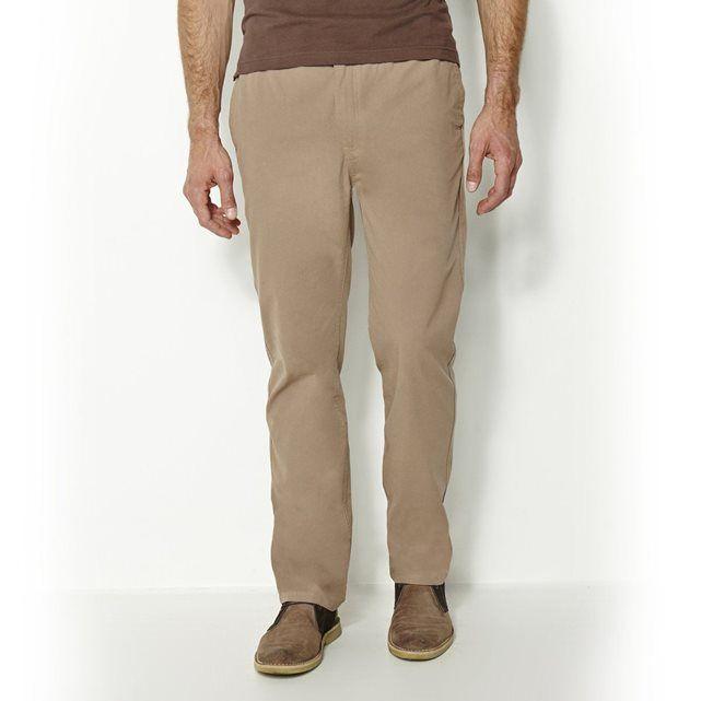 Pantalon en toile pur coton CASTALUNA FOR MEN : prix, avis & notation, livraison.  Ce pantalon spécial grandes tailles s'adapte à toutes les morphologies grâce à sa taille élastiquée. Pantalon confortable et élégant en toile pur coton émerisé.Fermeture boutonnée et braguette zippée. 2 poches côtés et 1 poche passepoilée au dos. Entrejambe 83 cm.