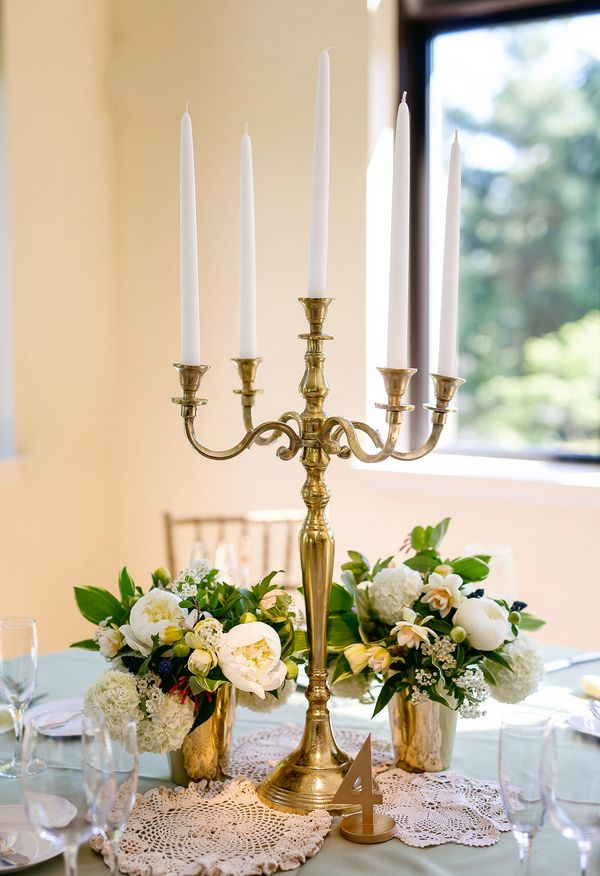 Gold candlebra, white candles, white florals // Danielle Coons Photography