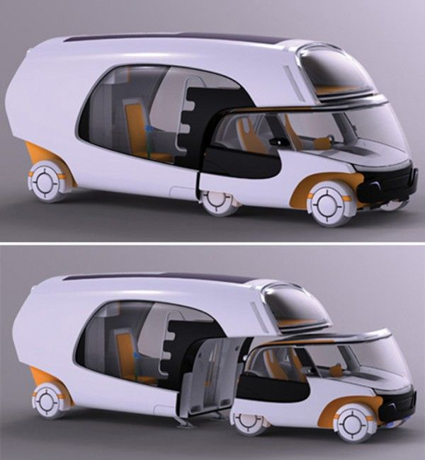 Colim camper RV concept - a campervan which comes apart so the front has a separate smart car - fantastic idea for short getaways and I love the colour!