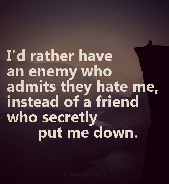 I'd rather have an enemy who admits they hate me, instead of a friend who secretly put me down.