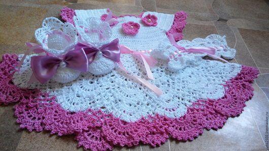 Одежда для девочек, ручной работы. Ярмарка Мастеров - ручная работа. Купить комплект платье , пинетки, повязка ажурные крючком для девочки. Handmade.
