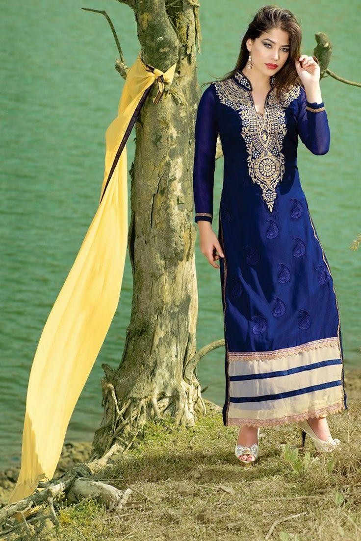Blue Color Designer Party Wear Salwar Kameez From Easysarees.