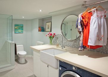 Laundry Bathroom Combo Design Ideas, Pictures, Remodel, and Decor
