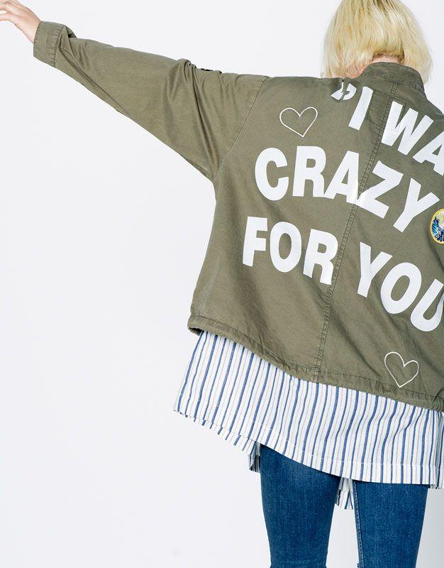 Pull&Bear - dames - jacks - safari-jasje met patches - donkerkaki…