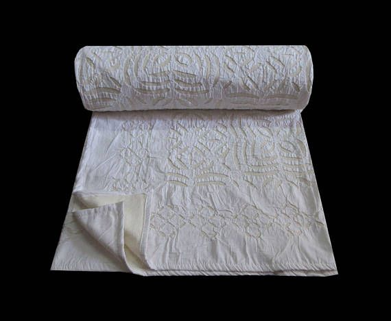 $89 Product Description : Cotton patch cut work in sunlight colored bed sheet looks amazing. This an elegant piece and can do wonders in your bed room. Traditional Handmade Bed sheet have remained the style-icon in Home Furnishing since centuries. During erstwhile era, royal families