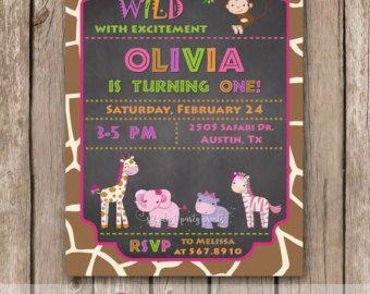 Jungle Invitation Safari invitation Monkey by DellaEvents on Etsy