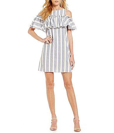 Gianni Bini Mia Striped Ruffle ColdShoulder Dress #Dillards