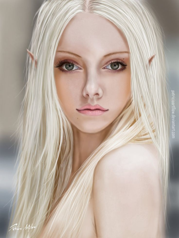Digital art, fantastic painting of a beautiful young woman. She is an elf as you can see with her cute little pointy ears