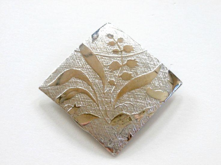 Vintage 1980s silver dress shoe scarf clip retro floral scarf clip (7.99 USD) by PlasticPinkFlamingos