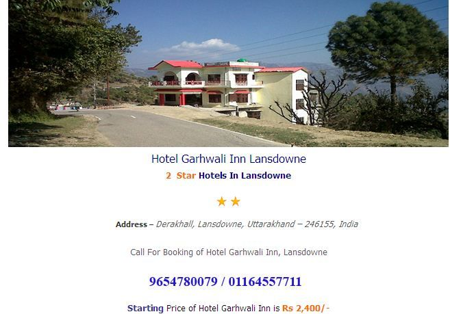 Rooms booking in Hotel Garhwali Inn Lansdowne  at hotelsinlansdowne.co.in