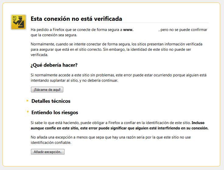 Excepción Certificado Seguridad Mozilla Firefox: Excepción Certificado, Mozilla Firefox, Certificado Seguridad, Seguridad Mozilla