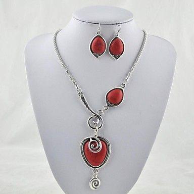 Винтажный вид тибетского антиквариата сплава Посеребренная Красный Бирюзовый Камень (включая ожерелье и серьги) комплект ювелирных изделий (красный) – RUB p. 605,87