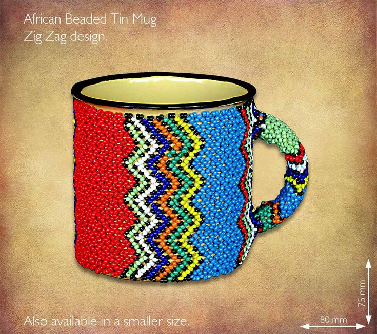 African Beaded tin mug - Zulu Zig Zag design. Traditional African Beadwork handmade in South Africa by highly skilled Zulu Beadworkers. Wide range of African Beadwork designs available on our website www.earthafricacurio.com