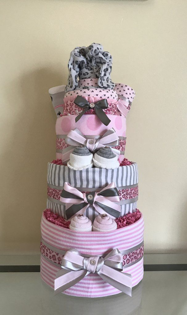 Pink Cheetah Baby Girl Diaper Cake | Lavish Baby Baskets Diaper Cakes