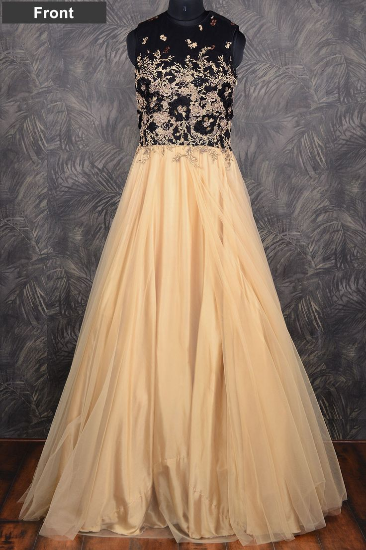 #Cream classy #floor length #net gown with resham thread work-GW091