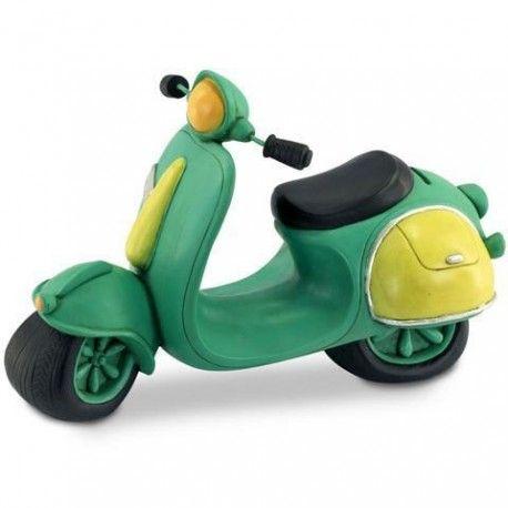 Original hucha grande moto Scooter retro de color verde para guardar todo tu dinero. Es el regalo perfecto para regalar a los demás. Seguro que acertarás.