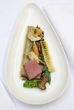 Loin of lamb, braised neck boulangere, crushed peas, rosemary lamb jus. By Matt Weedon Head Chef at Fallowfields http://www.fallowfields.com/restaurant/
