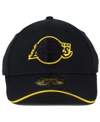 New Era Los Angeles Lakers Black Pop 39THIRTY Cap - Black/Gold L/XL