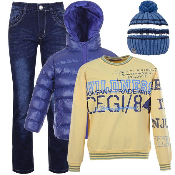 В чем пойти тинейджеру на прогулку? Отчет прост - всегда уместные джинсы, удобный джемпер яркого цвета и теплая куртка-дутик. И не забыть про шапку!