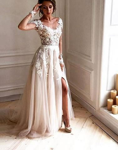 be2663df30 Dark Ivory Cap Sleeve Lace Beaded A line Long Evening Prom Dresses ...