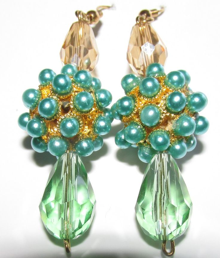 Gold Crystal and Mint Blue Crystal Earrings