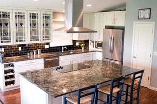 All the colors and styles I'm looking for, Granite-Black Cosmos (Cosmic Black), White Cabinets, Acacia Flooring, Stainless Steel Appliances, and Subway Tile (all though white would be first choice)