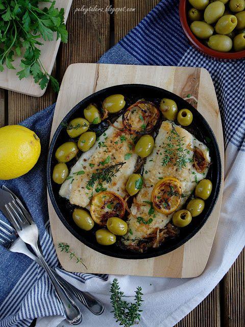 Dorsz z cytryną i oliwkami - Cod with lemon and olives (recipe in Polish)