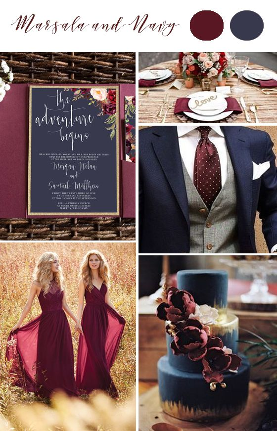 Navy Marsala Gold Wedding Color Palette. Burgundy and navy with gold accents. Invites by @unicaforma_
